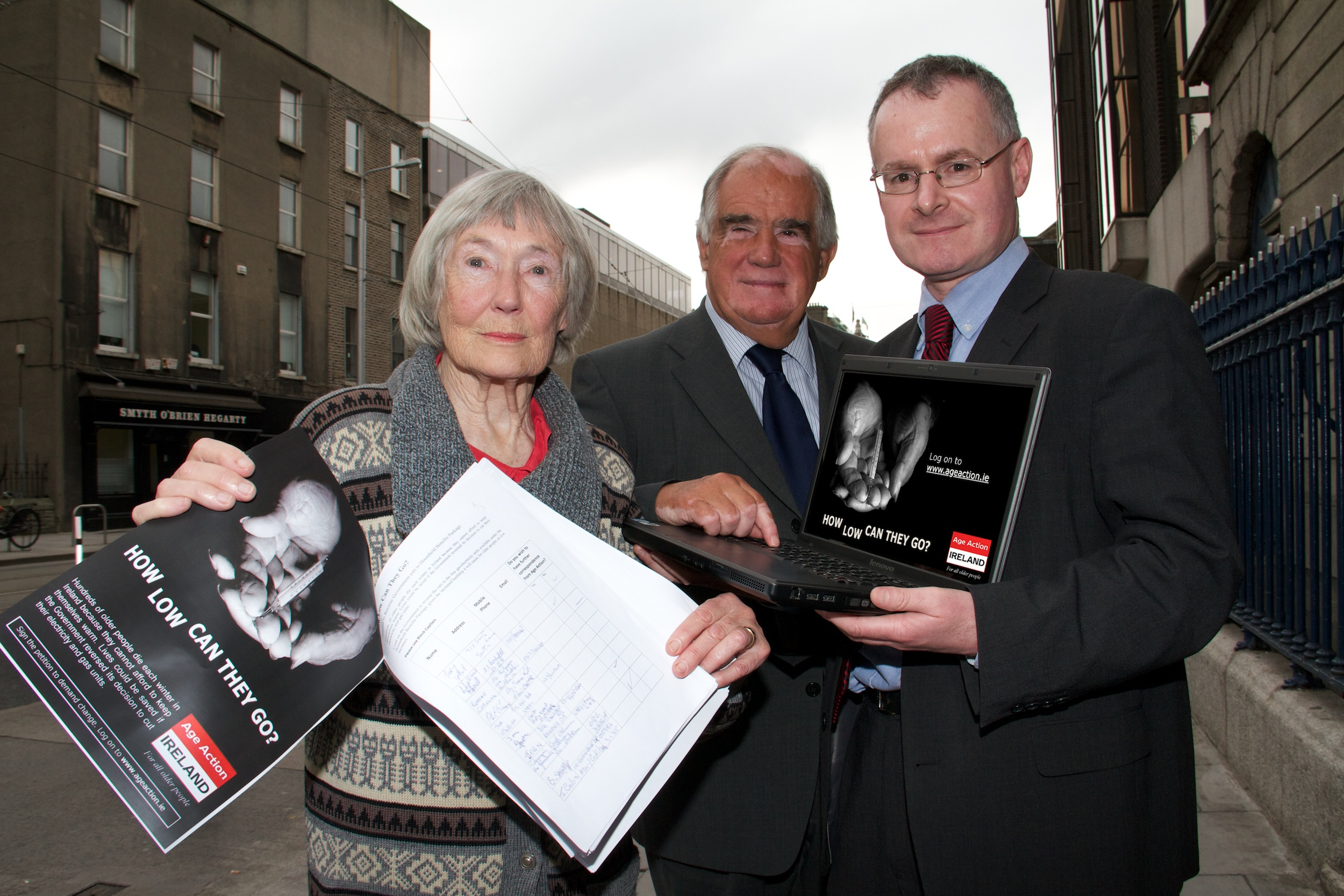 Pictured at the Age Action appeal were left to right:  Beth Noonan, Blackrock  Robin Webster, Chief Executive of Age Action Ireland. Eamon Timmins, Head of Advocacy and Communications.
