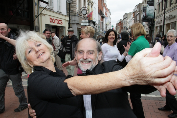 Members of Older People's organisations and friends mark European Year of Active Ageing and Solidarity between the Generations on Dublin's Grafton Street..